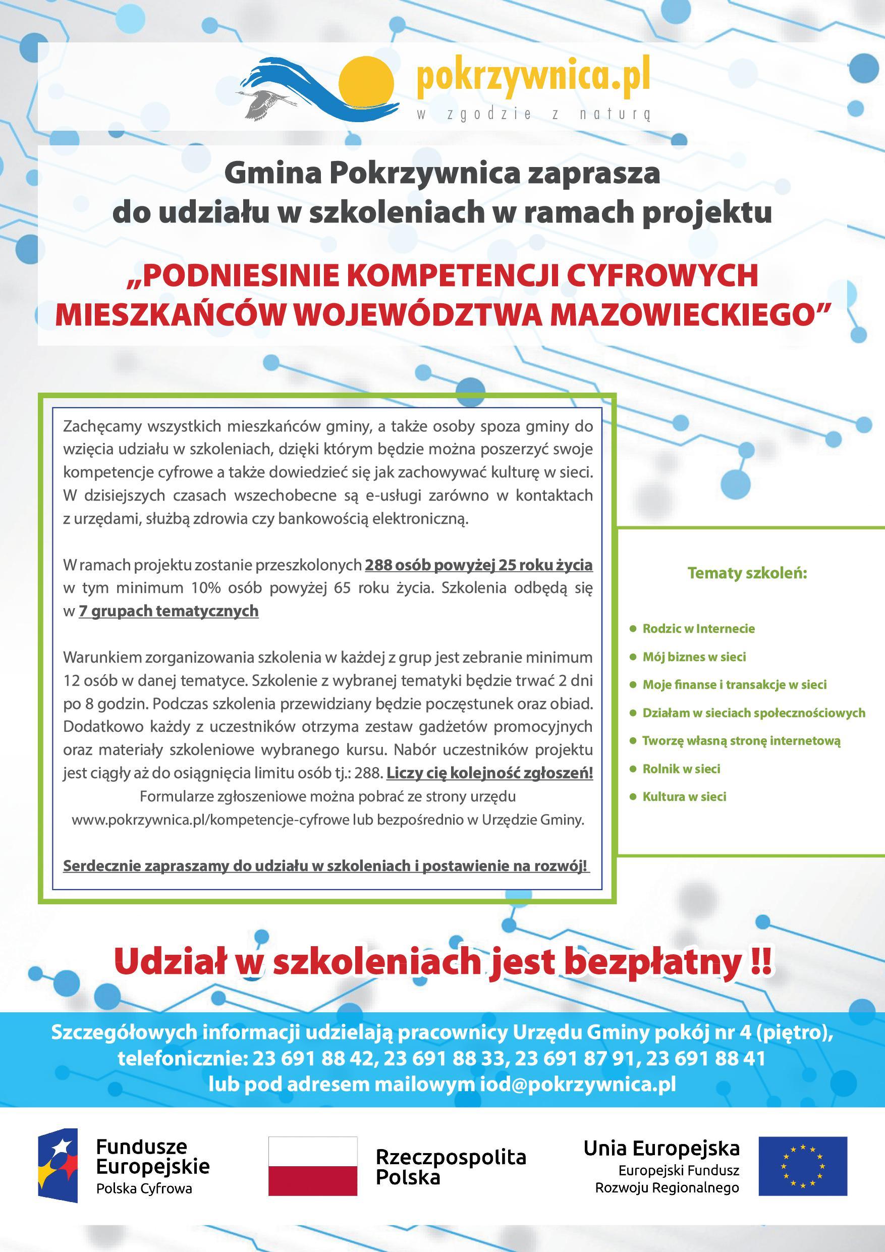 Gmina Pokrzywnica realizuje bezpłatne szkolenia