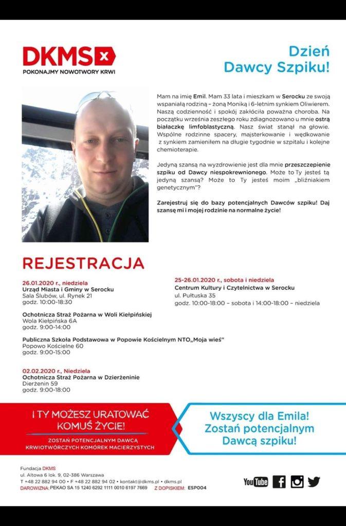 plakat informacyjny o akcji rejestracji w bazie DKMS