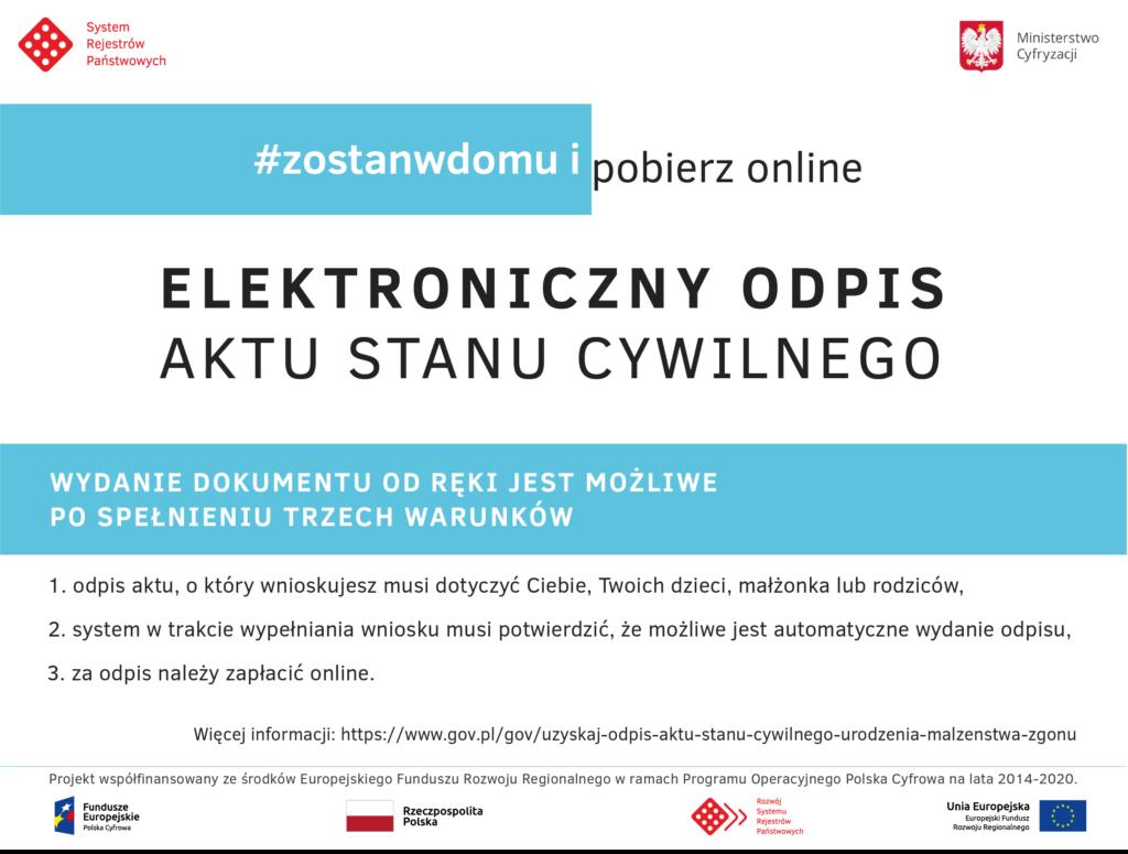 Plakat informacyjny elektroniczny odpis aktu stanu cywilnego