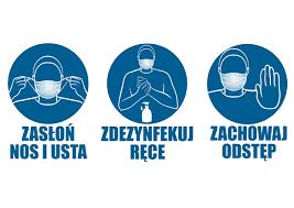 grafika informacyjna o noszeniu maski, dezynfekcji rąk, zachowaniu odstępu